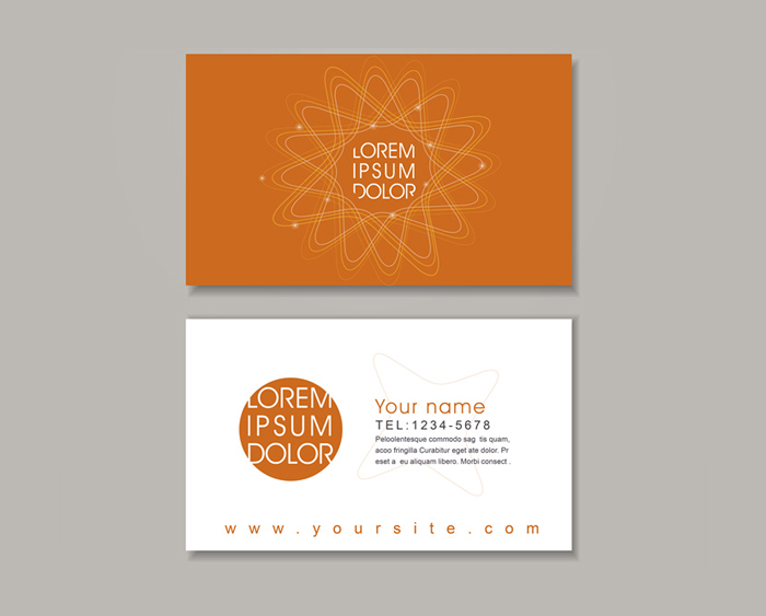 elegant business card design template with abstract floral elements in orange